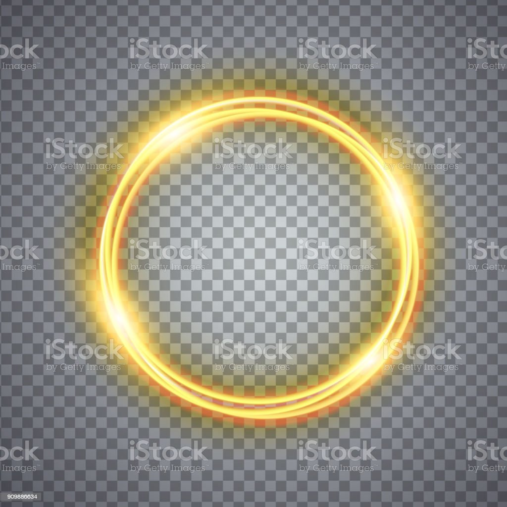 Magic gold circle light effect. Illustration isolated on background vector art illustration