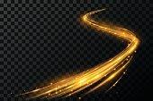 Magic gold light effect in vector