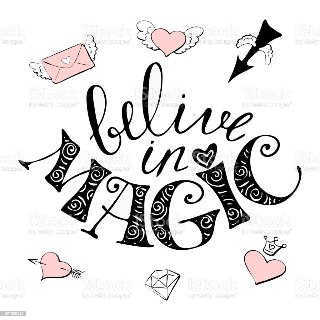 Magic Hand Gezeichnete Illustration Süße Regenbogen Und Schriftzug