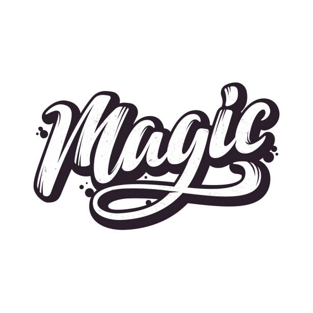 magic. hand drawn lettering style. - paranormalny stock illustrations