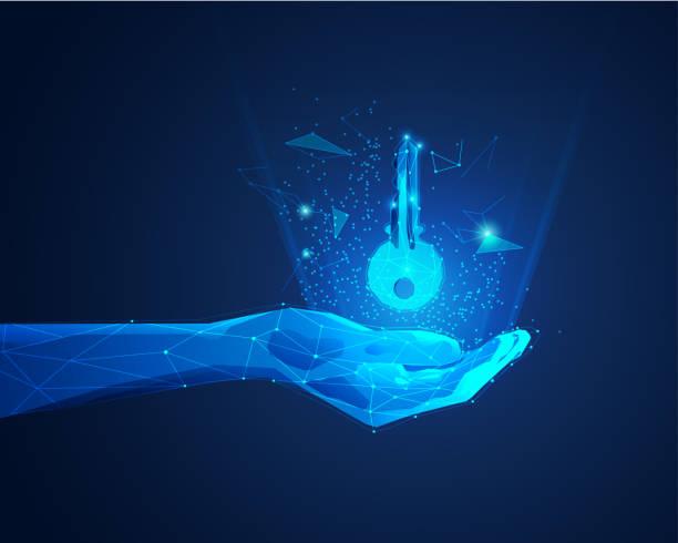 magic hand concept of private key in digital technology world, polygon hand holding futuristic key unlocking stock illustrations