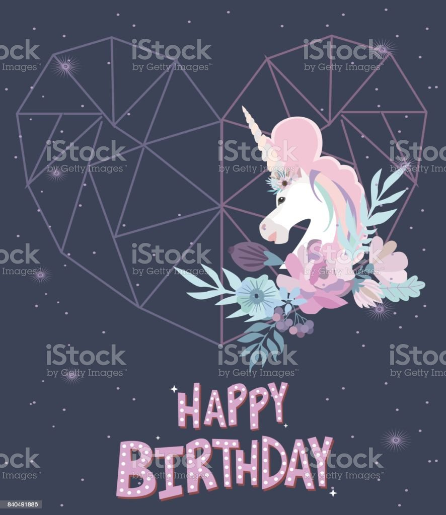 Magic happy birthday greeting card with unicorn editable vector magic happy birthday greeting card with unicorn editable vector illustration royalty free magic happy kristyandbryce Images