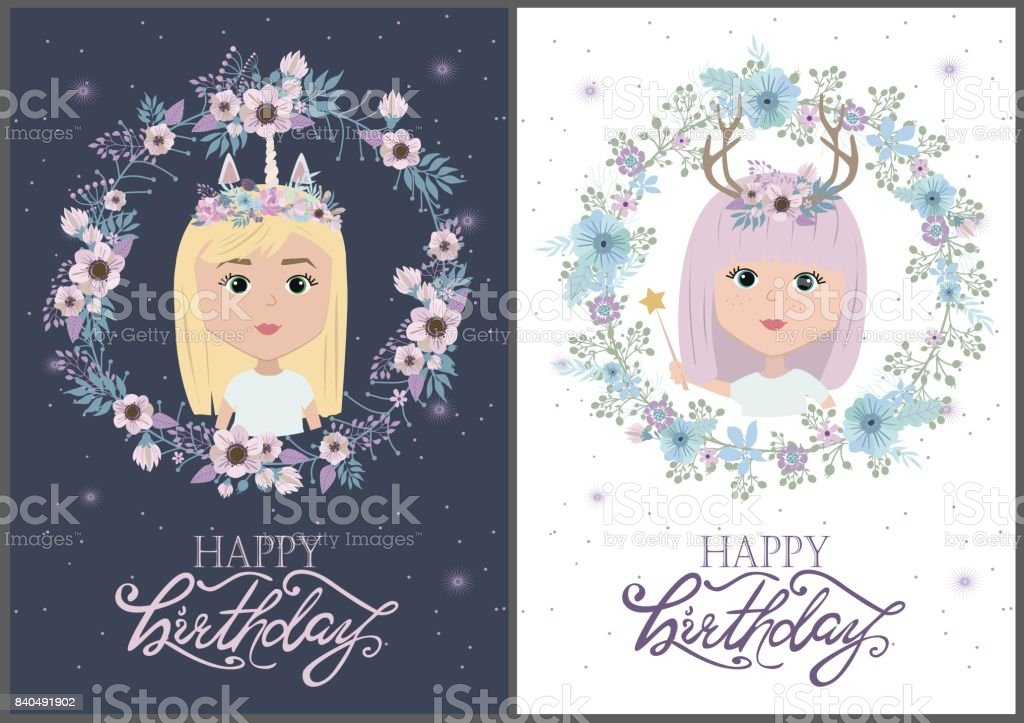 Magic Happy Birthday Greeting Cards With Mystic Girls Royalty Free Stock Vector Art