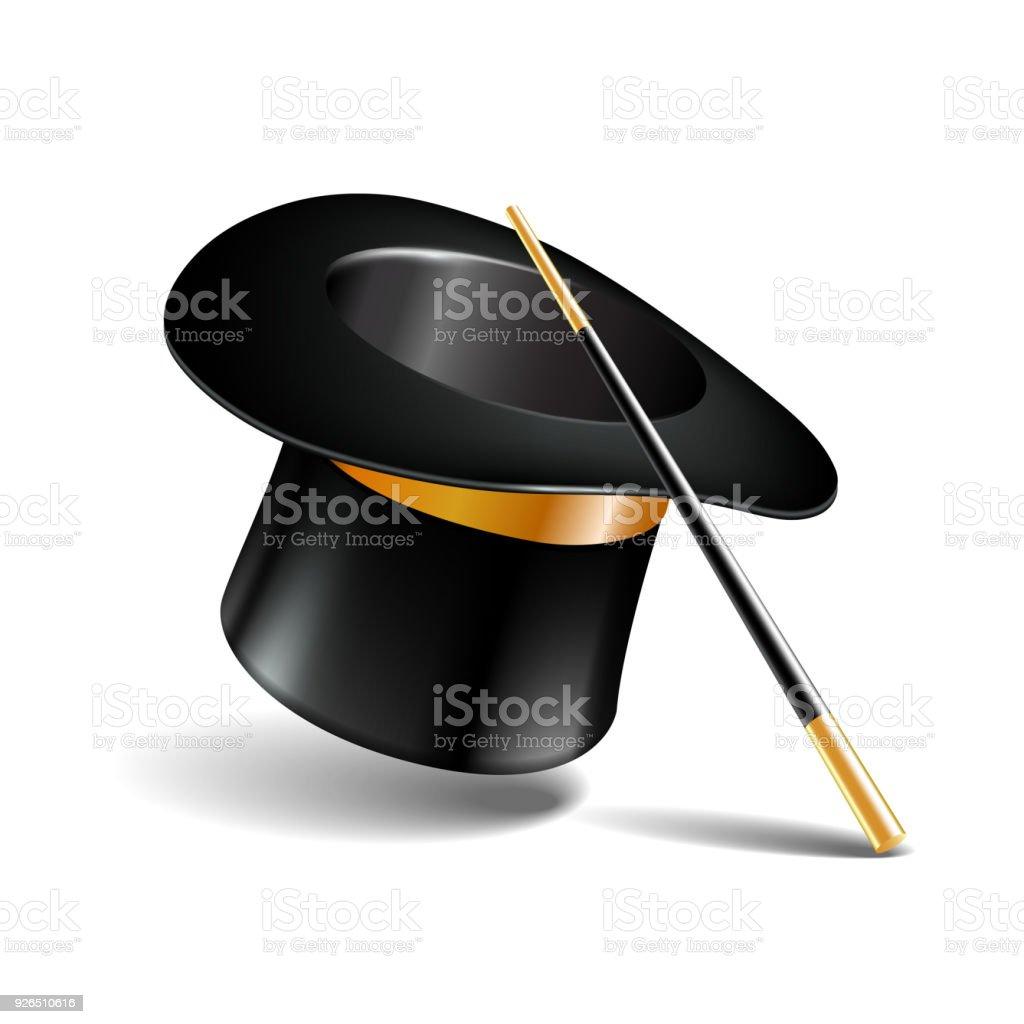 608e2be431b Ilustración de Sombrero Mágico Y Tubo Aislado En Blanco y más ...
