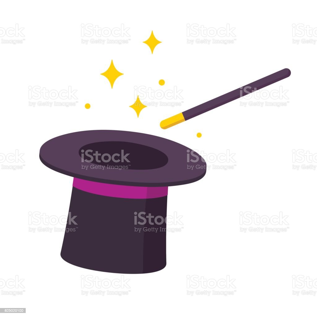Magic hat and wand vector art illustration