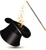 Magic hat and wand with sparkles. vector