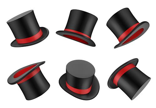 Magic hat. Clothes for magician or gentleman vector realistic top hat