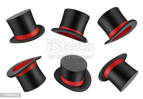 Magic hat. Clothes for magician or gentleman vector realistic top hat. Magic hat, clothing object top, magical classic illustration