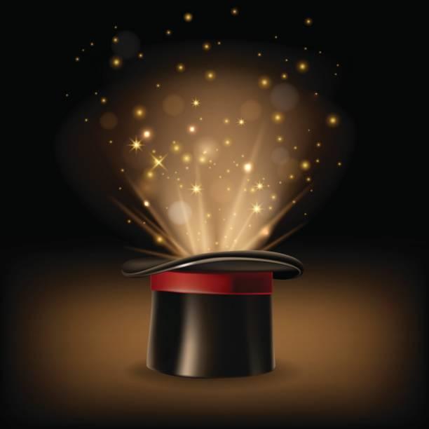 zauberhut mit magischen lichtern auf dunklen braunen hintergrund. - magie stock-grafiken, -clipart, -cartoons und -symbole