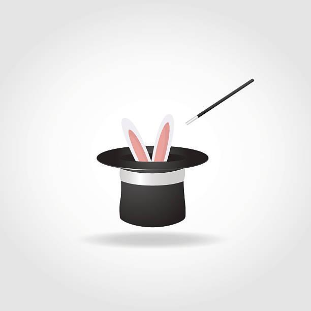 ilustrações de stock, clip art, desenhos animados e ícones de chapéu mágico com coelho - puxar cabelos
