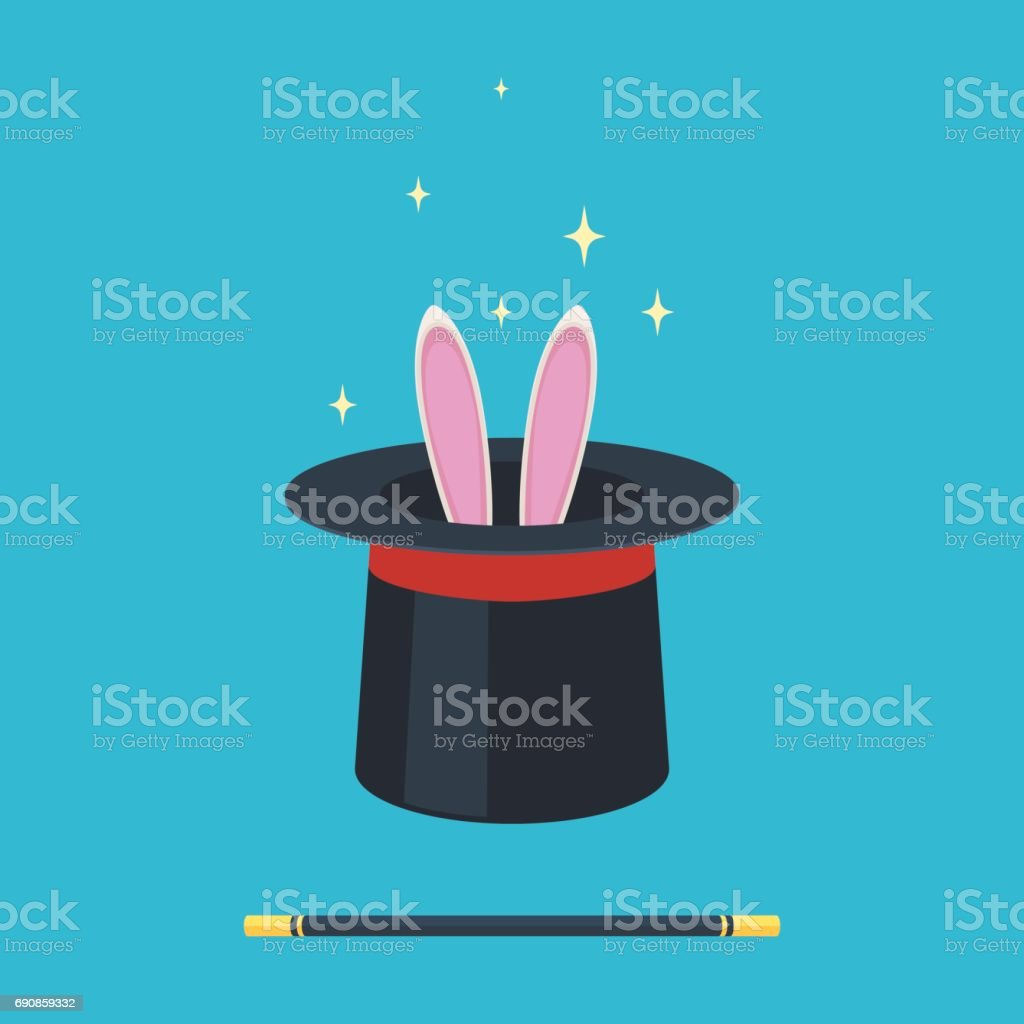 Magic hat with rabbit vector art illustration
