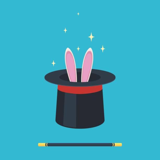 magischer hut mit kaninchen - magie stock-grafiken, -clipart, -cartoons und -symbole