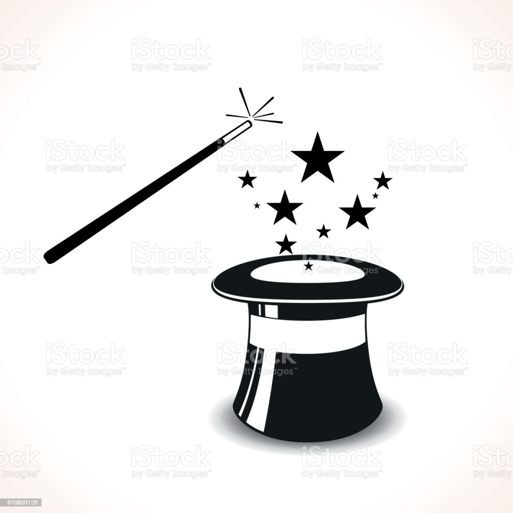 magic hat with wand vector art illustration