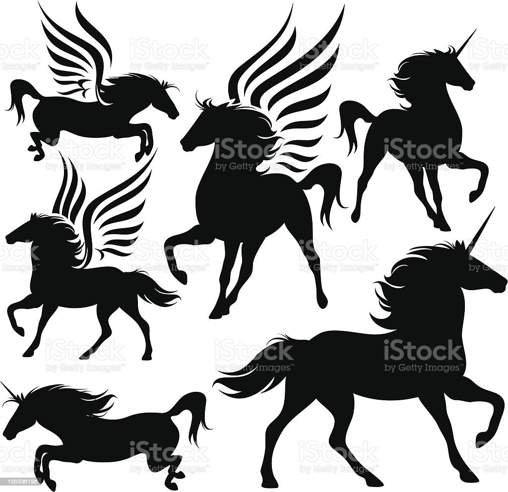 magic horses vector art illustration