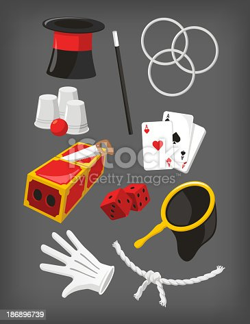 Magic Icon Set, with Magic Top Hat, Hoop, Magic Wand, Dices, White Gloves, Ace Cards, Magic Bag, Rope, Magic Box Trick, Glasses and Ball. Vector Illustration Cartoon.