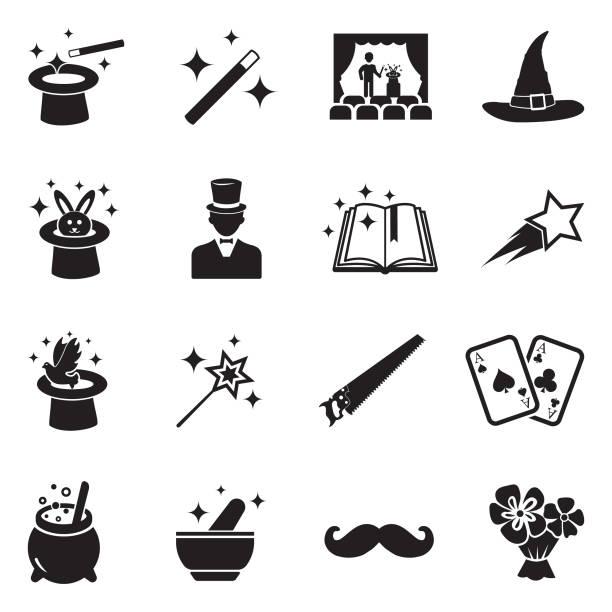 magic icons. black flat design. vector illustration. - paranormalny stock illustrations