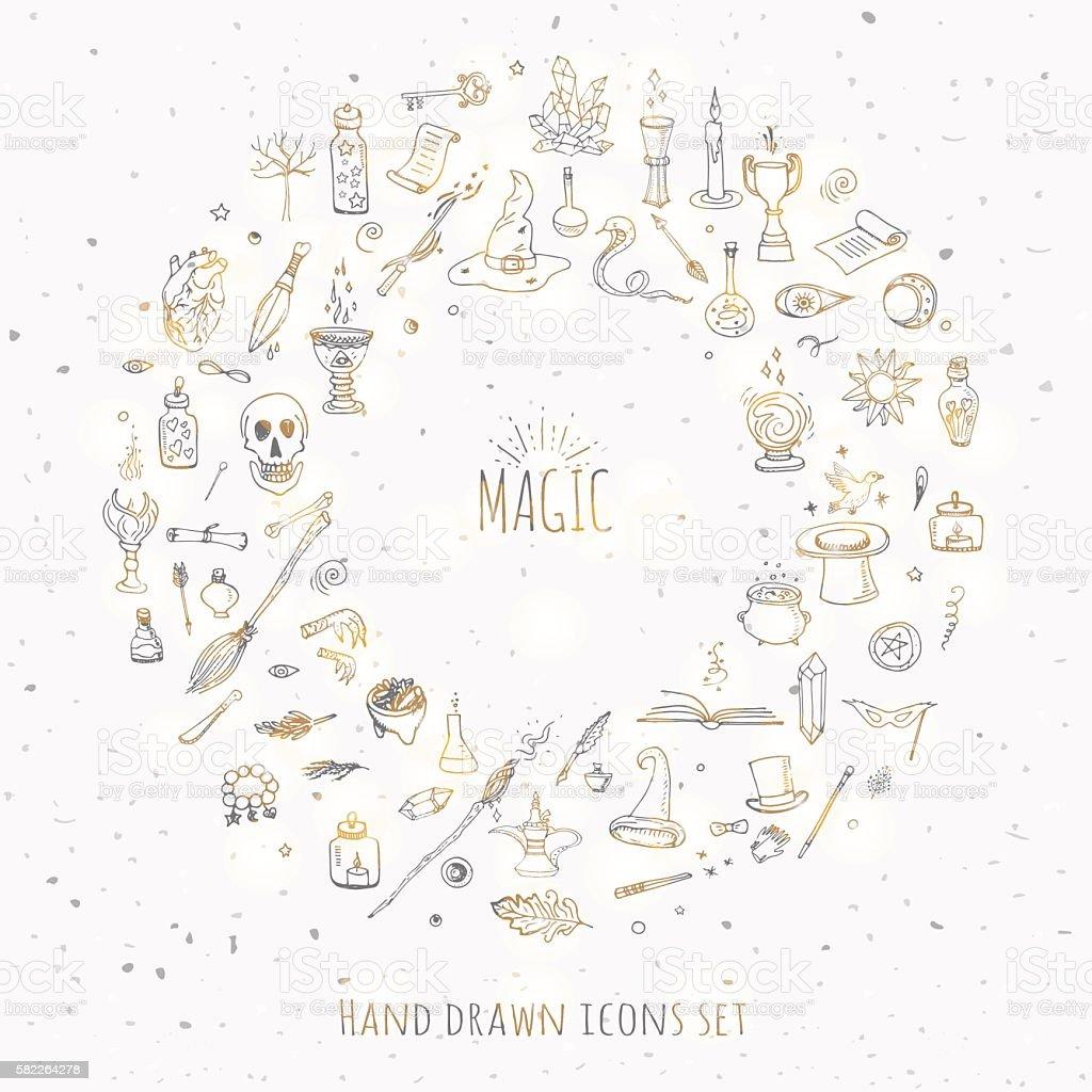 Magic icons set vector art illustration