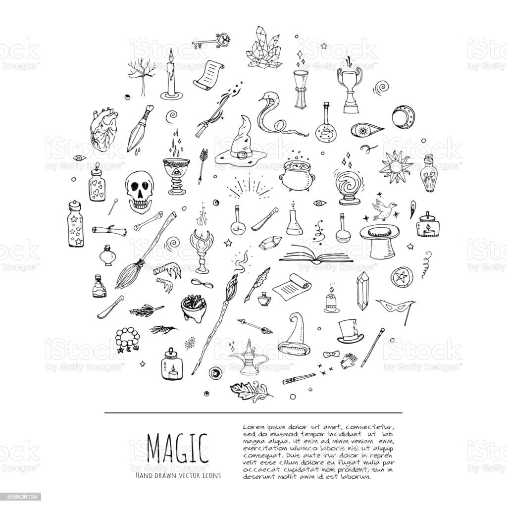 Magic icons set vector art illustration