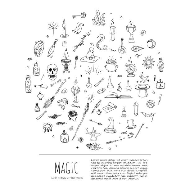 magische symbole set - magie stock-grafiken, -clipart, -cartoons und -symbole
