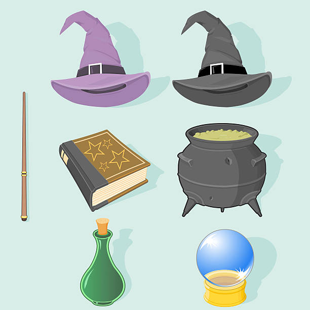Magic Icons A vector illustration set of Magical Icons - All grouped an layered for easy editing and isolation. Set includes: A spell book, magic wand, bubbling cauldron, magic potion, crystal ball and a wizard's and witches hat. arcane stock illustrations