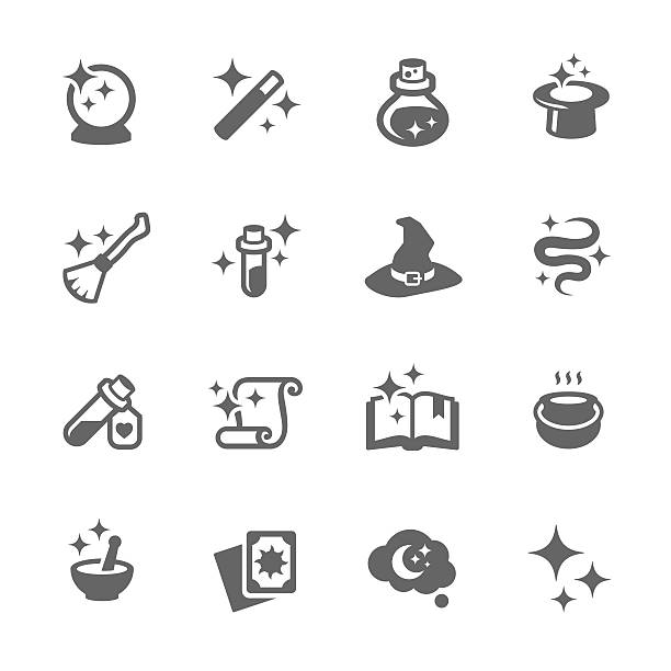 Magic Icons Simple Set of Magic Related Vector Icons for Your Design.  potion stock illustrations