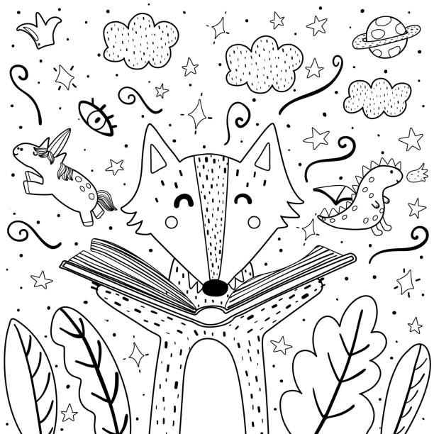 magic in the books coloring page with cute wolf. black and white background for adults and children - unicorn line drawings stock illustrations, clip art, cartoons, & icons