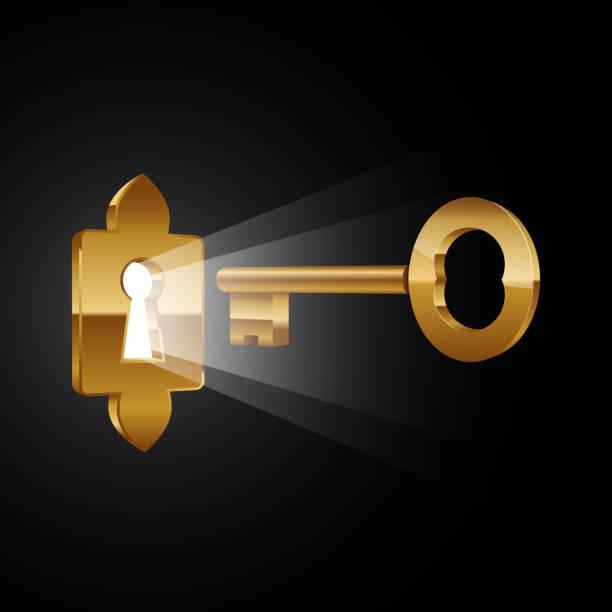 Magic key and keyhole with glowing effect Vector illustration of gold key and keyhole on plain background keyhole stock illustrations