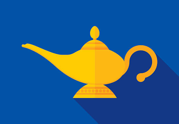 Magic Lamp Icon Flat vector art illustration