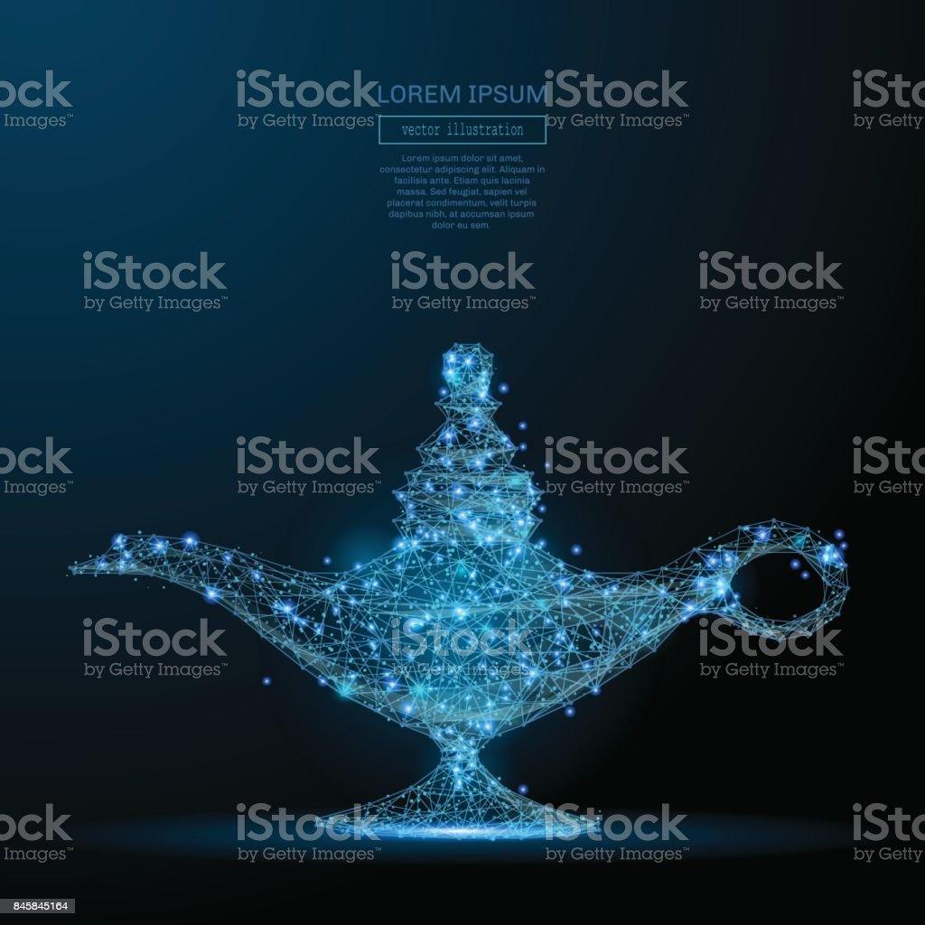 magic lamp low poly blue vector art illustration
