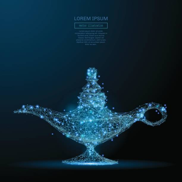 magic lamp low poly blue vector art illustration