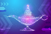 Abstract image magic lamp in the form of a starry sky or space, consisting of points, lines, and shapes in the form of planets, stars and the universe. Vector wireframe concept. Blue purple