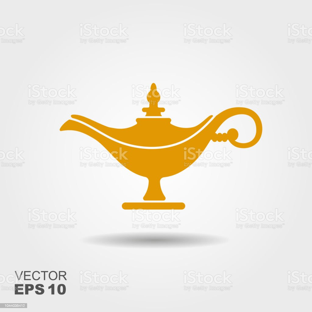 Magic lamp or Aladdin lamp vector illustration. Flat icon vector art illustration