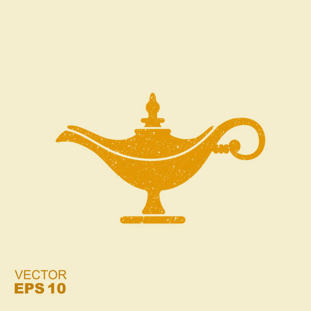 Magic lamp or Aladdin lamp vector illustration. Flat icon with scuffed effect vector art illustration