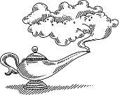 Magic Lamp Smoke Drawing