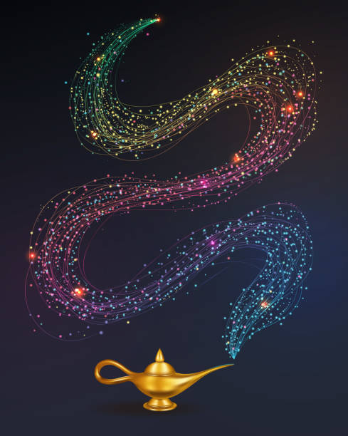 magische lampe - geistergeschichten stock-grafiken, -clipart, -cartoons und -symbole