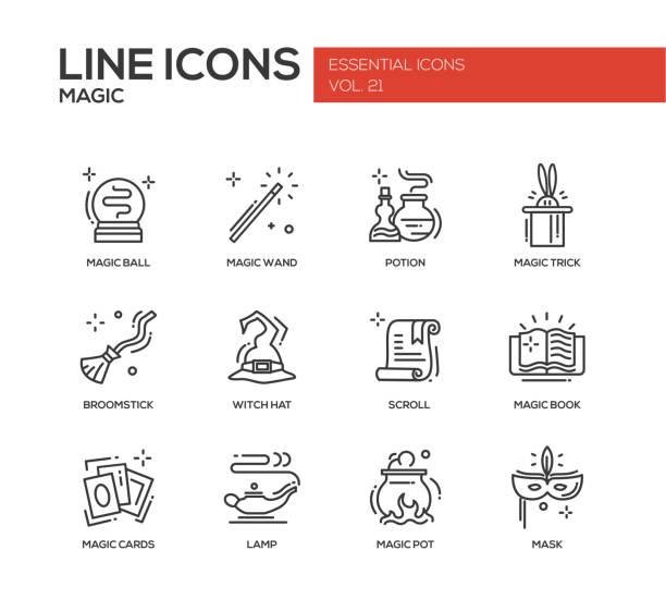 magic-linie icons set - geistergeschichten stock-grafiken, -clipart, -cartoons und -symbole