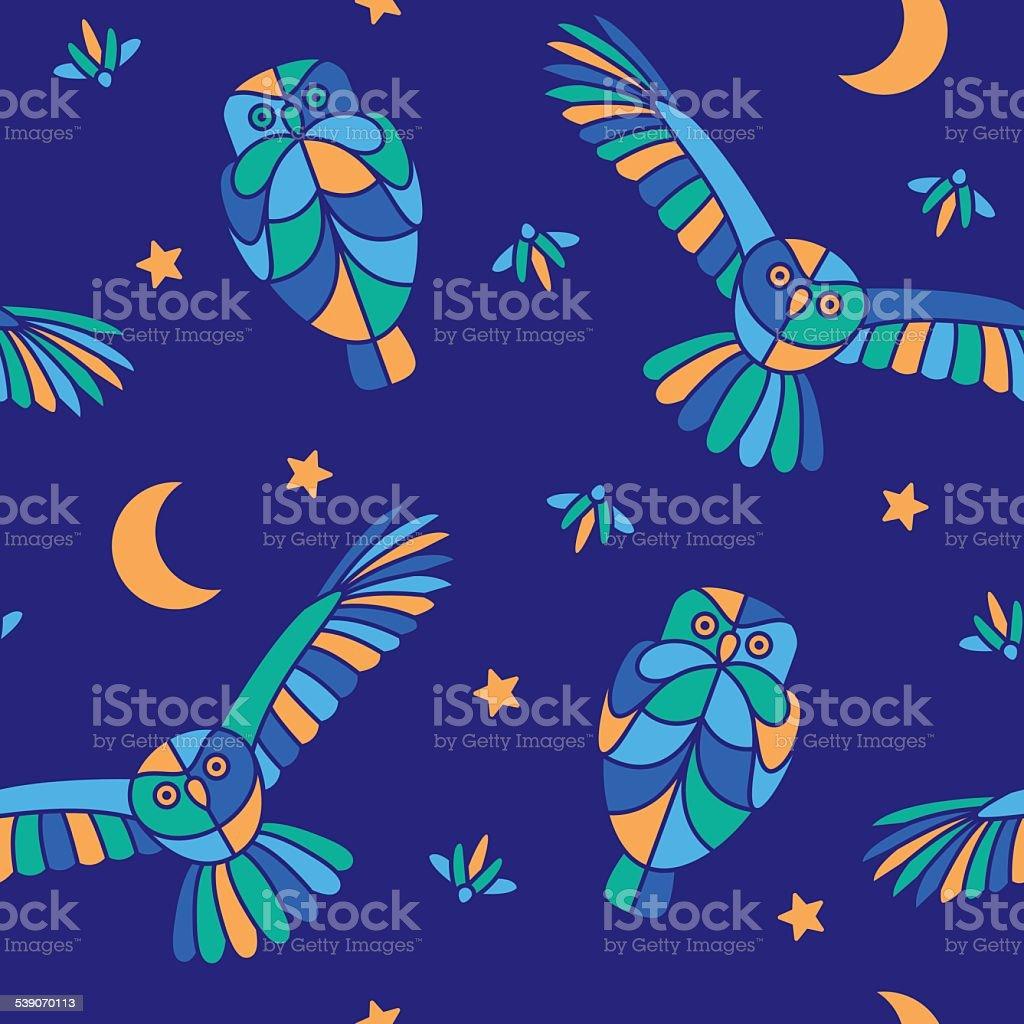 Magic midnight - seamless pattern vector art illustration