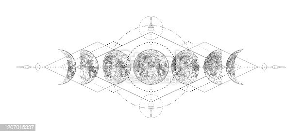 istock Magic moon with sacred geometry tattoo design. Monochrome hand drawn vector illustration, isolated on white background 1207015337
