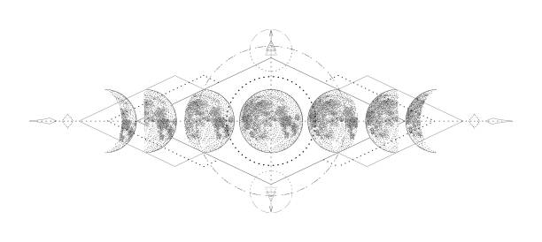 ilustraciones, imágenes clip art, dibujos animados e iconos de stock de luna mágica con diseño de tatuaje de geometría sagrada. ilustración vectorial dibujada a mano monocroma, aislada sobre fondo blanco - tatuajes de luna