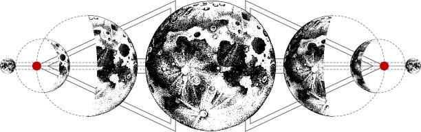 Magic moons tattoo Magic moons tattoo with secret geometry symbols. Hand drawn vector illustration alchemy stock illustrations