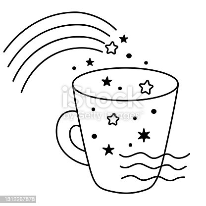 A magic mug with stars. Space and the ocean inside the cup. Modern print for t-shirts, cards, stickers, goods, packaging, design. Hand drawn stock illustration. Vector isolated on a white background.
