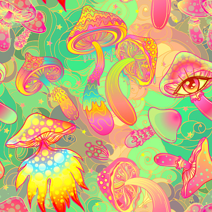Magic mushrooms.  Psychedelic seamless pattern.