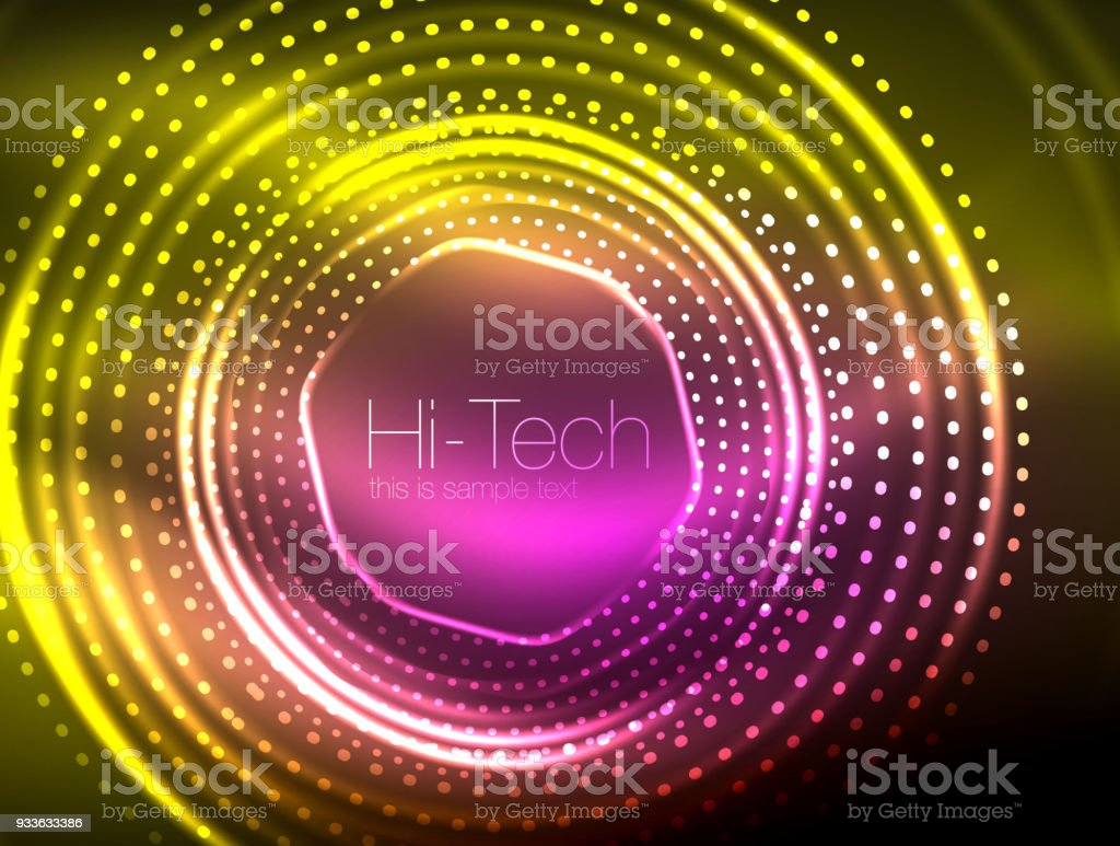 Abstract Technology Background With Light Effect: Magic Neon Circle Shape Abstract Background Shiny Light