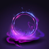 Magic neon rings in vector