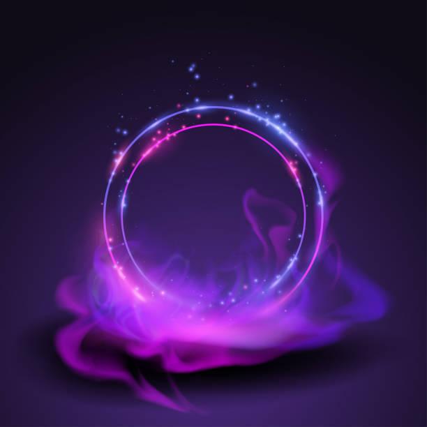 magic neon rings - духовность stock illustrations