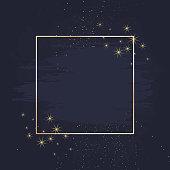 Magic night dark blue card with sparkling glitter and line art. Square shaped vector wedding invitation. Gold glitter powder splash geometric background. Golden scattered dust. Fairytale magic card