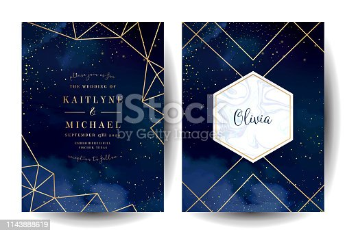 Magic night dark blue cards with sparkling glitter and line art. Diamond shaped vector wedding invitation. Gold confetti and marble navy background. Golden scattered dust. Fairytale magic templates.