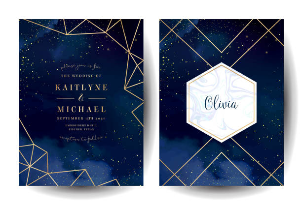 Magic night dark blue cards with sparkling glitter and line art. Magic night dark blue cards with sparkling glitter and line art. Diamond shaped vector wedding invitation. Gold confetti and marble navy background. Golden scattered dust. Fairytale magic templates. grace stock illustrations