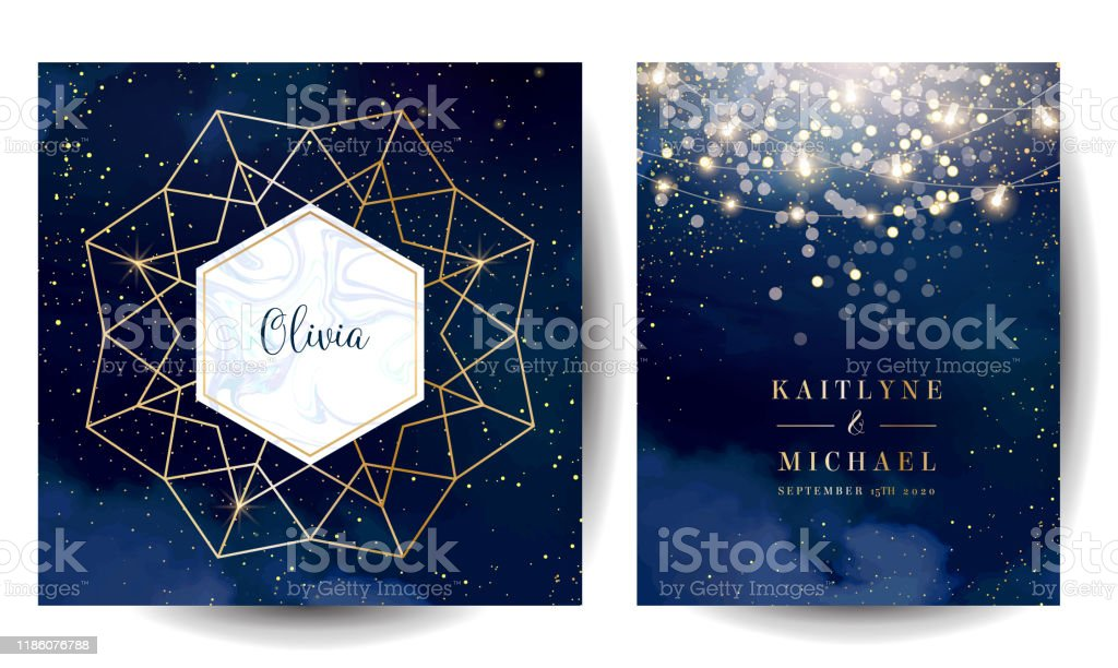 Magic night dark blue cards with sparkling glitter bokeh and line art. Magic night dark blue cards with sparkling glitter bokeh and line art. Diamond shaped vector wedding invitation. Gold confetti and navy background. Golden scattered dust.Fairytale magic star templates Abstract stock vector