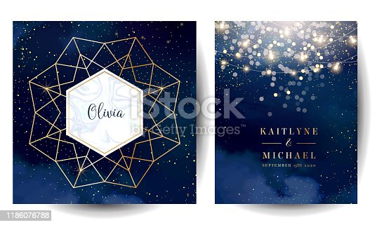 istock Magic night dark blue cards with sparkling glitter bokeh and line art. 1186076788